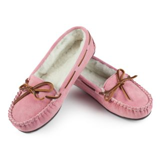 Lamo Womens Britain Moc Slip on Slippers   Pink   Womens Slippers