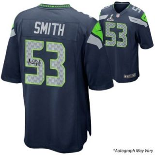 Malcolm Smith Seattle Seahawks Super Bowl XLVIII Champions Autographed Super Bowl Nike Replica Blue Jersey
