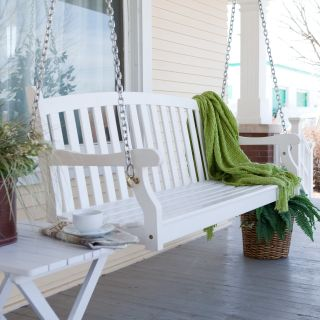 Pleasant Bay Painted Wood Porch Swing   White