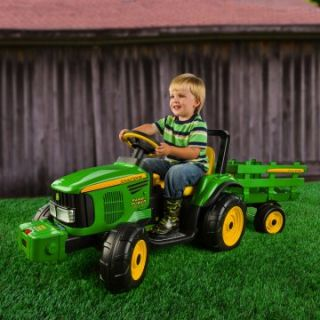 Peg Perego John Deere Farm Power with Trailer Battery Powered Riding Toy   Battery Powered Riding Toys