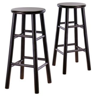 Winsome Wood 24 Inch Counter Stool   Espresso   Set of 2   Bar Stools