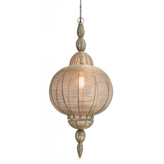 Kalalou NDP1183 Large Wire Pendant Lantern with Antique Gold Finish   Pendant Lighting