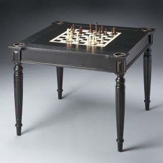 Butler Masterpiece Collection Wood Multi Game Card Table with Black Licorice Finish   Backgammon Tables