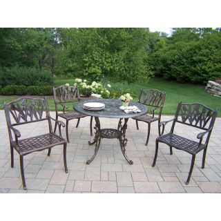 Oakland Living Mississippi Cast Aluminum 42 in. Tulip Patio Dining Set   Patio Dining Sets