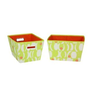 Household Essentials Small Tapered Bins   Geo Print   Lime with Melon   2 pk.   Home Magazine Racks