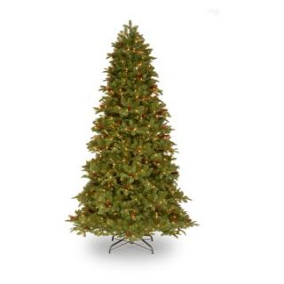 7.5 ft. Feel Real Oakridge Medium Hinged Pre Lit Christmas Tree with Pine Cones   Christmas Trees