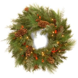 30 in. Decorative Collection White Pine Pre Lit LED Christmas Wreath   Battery Operated   Christmas Wreaths