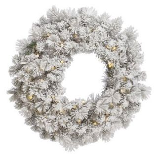 Vickerman Aspen Flocked Pre Lit LED Wreath   Warm White Lights   Christmas Wreaths