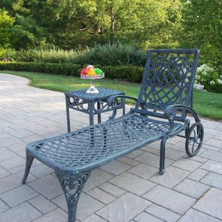 Oakland Living Mississippi Cast Aluminum Chaise Lounge with Side Table   Outdoor Chaise Lounges