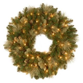 24 in. Carolina Pine Pre Lit Christmas Wreath with Flocked Pine Cones   Christmas Wreaths