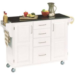 Deluxe Kitchen Island White Finish with Black Granite Top   Kitchen Islands and Carts