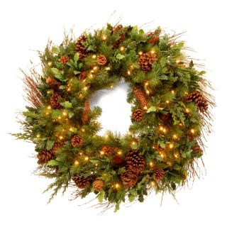 30 in. Decorative Collection Juniper Mix Pine Pre Lit Christmas Wreath   Christmas Wreaths