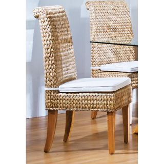 Hospitality Rattan Sea Breeze Indoor Seagrass Side Chair with Cushion   Natural   Dining Chairs