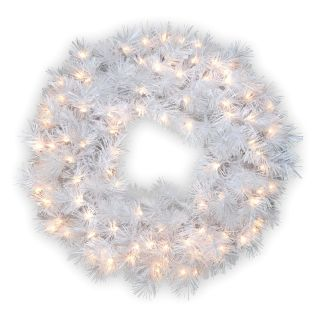 30 in. Wispy Willow Grande White Pre Lit Christmas Wreath with Silver Glitter   Christmas Wreaths