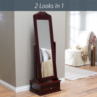 Belham Living Removable Decorative Top Standing Cheval Mirror   Cherry   Floor Mirrors