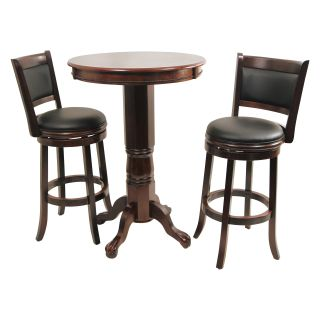 Boraam Augusta 3 Piece Pub Table Set   Cappuccino   Pub Tables