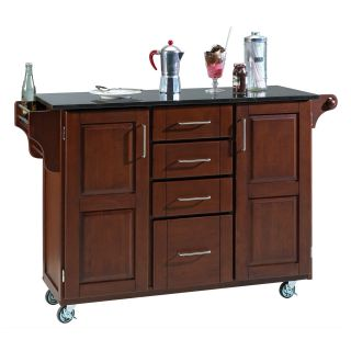 Deluxe Kitchen Island Cherry Finish with Black Granite Top   Kitchen Islands and Carts