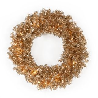 24 in. Classic Champagne Pre lit Wreath   Christmas Wreaths