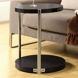Monarch Round Chrome Metal Accent Table   Cappuccino   End Tables