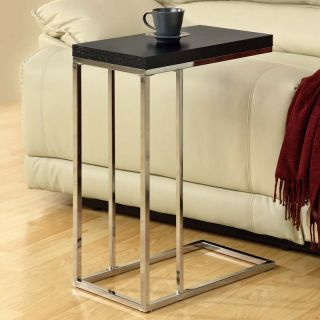 Monarch Rectangular Chrome Metal Accent Table   Cappuccino   End Tables