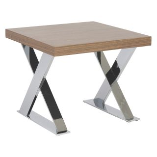 Euro Style Anika Side Table   Walnut/Chrome   End Tables