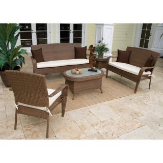 Hospitality Rattan Grenada 5 Piece Deep Seating Conversation Set   Viro Fiber Antique Brown with Tempered Glass   Conversation Patio Sets