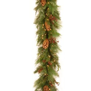 6 ft. White Pine Pre Lit LED Garland   Battery Operated   Christmas Garland