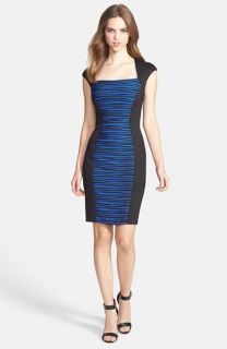 JAX Cap Sleeve Colorblock Sheath Dress