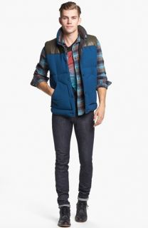 MARC BY MARC JACOBS Leather Trim Puffer Vest, Superdry Plaid Flannel Shirt & J Brand Skinny Fit Jeans