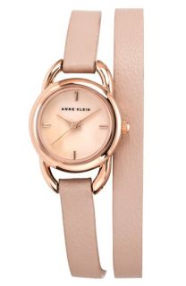 Anne Klein Double Wrap Leather Strap Watch, 22mm