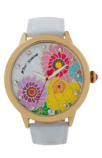 Betsey Johnson Floral Dial Leather Strap Watch, 44mm