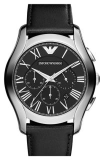 Emporio Armani Round Chronograph Leather Strap Watch, 45mm