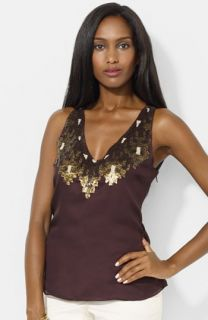 Lauren Ralph Lauren Sequin Trim Sleeveless V Neck Blouse