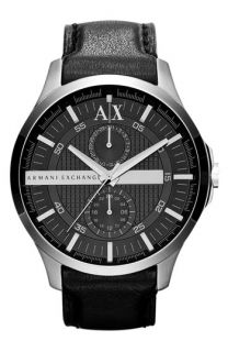 AX Armani Exchange Round Leather Strap Watch, 46mm