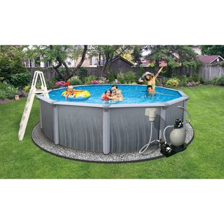 Swimline Martinique 21 Foot Round 52 Inch Deep 7 in Top Rail Metal Wall Swimming Pool Package Swim Time Above Ground Pools
