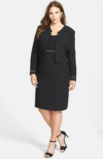 Tahari Sleeveless Crepe Dress & Jacket (Plus Size)