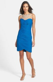 Adrianna Papell Embellished Tiered Mesh Sheath Dress