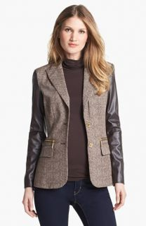 MICHAEL Michael Kors Faux Leather Sleeve Tweed Blazer