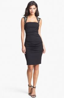 Nicole Miller Embellished Ruched Sheath Dress