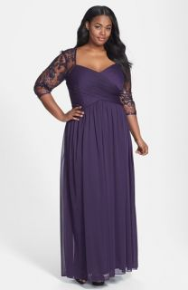 Adrianna Papell Sequin Embroidered Lace Dress (Plus Size)