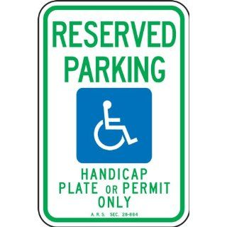 "Accuform Signs FRA186RA Engineer Grade Reflective Aluminum Handicap Parking Sign, For Arizona, Legend ""RESERVED PARKING HANDICAP PLATE OR PERMIT ONLY"" with Graphic, 12"" Width x 18"" Length x 0.080"" Thickness, Green/Blue on White In"