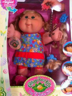 Pop 'N Style Cabbage Patch Kids Doll   Blonde Hair & Green Eyes in Blue Heart Outfit Toys & Games