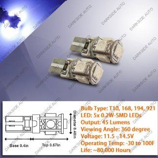 High Power CANBUS LED Bulbs (360 degree view / 5x 0.2W)   Pair (T10, 168, 194, 921 Type, Blue) Automotive