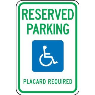 "Accuform Signs FRA196RA Engineer Grade Reflective Aluminum Handicap Parking Sign, For Hawaii, Legend ""RESERVED PARKING PLACARD REQUIRED"" with Graphic, 12"" Width x 18"" Length x 0.080"" Thickness, Green/Blue on White Industrial &"