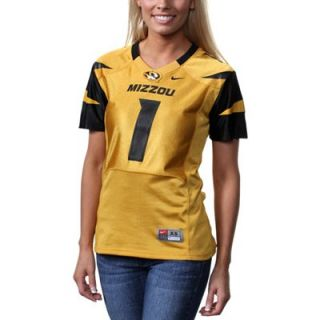 Nike Missouri Tigers #1 Womens Replica Football Jersey   Gold