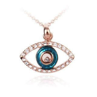 Fashion Plaza Silver Plated Eye Shape with Blue Murano glasses Pendant Necklace N193 Jewelry