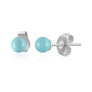 E202 E202 4mm Stainless Steel Light Blue Resin Ball Circle Stud Pair of Earrings in Gift Pouch Mission Jewelry