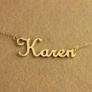Personalized Karen Style Name Necklace in 18k Gold Plated Over Copper Nameplate Necklace Customized Name Jewelry Perfect Gift for Women   Personal Necklace Fans