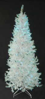 6' Slim Pre Lit Shimmering White Iridescent Christmas Tree   Blue Lights