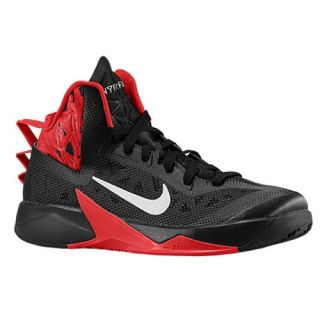 Nike Zoom Hyperfuse 2013   Mens   Basketball   Shoes   Black/University Red/Metallic Silver